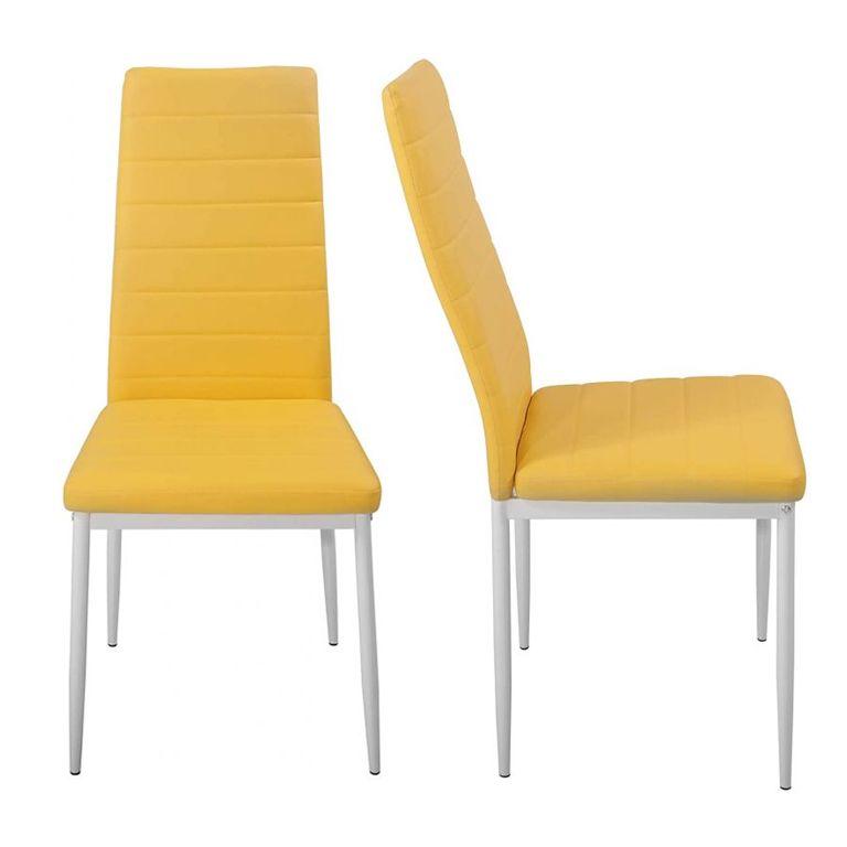 Sada jedálenských stoličiek z PU kože, béžové, 2 ks