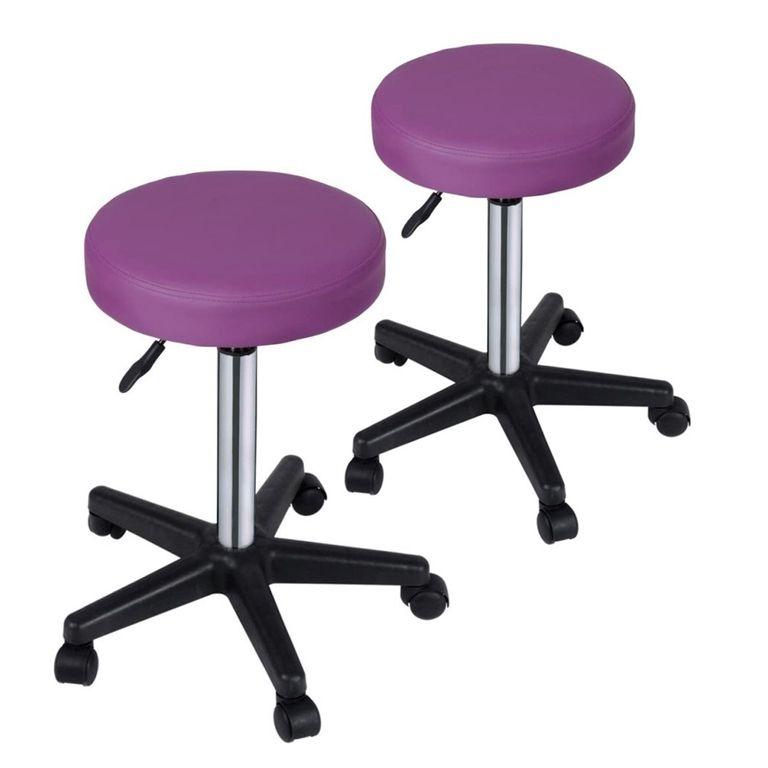 Sada stoličiek na kolieskach, fialová, 2 ks