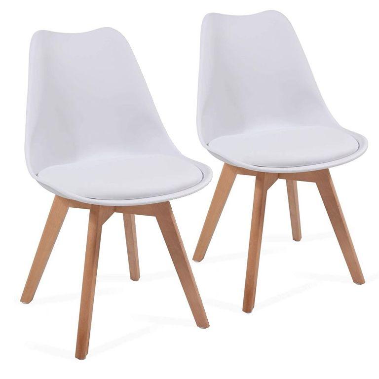 Sada stoličiek s plastovým sedadlom, 2 ks, biele