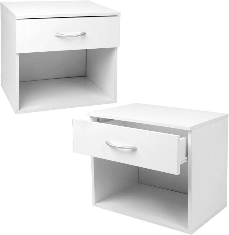 Sada nočných stolíkov sa zásuvkou, biela, 2 ks