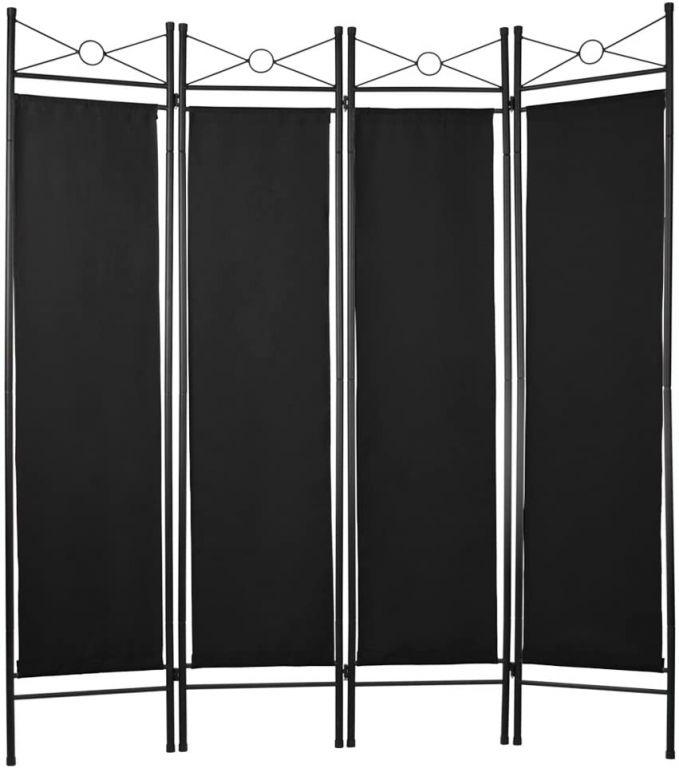 Paraván do bytu so 4 stenami, 160 x 180 cm, čierny