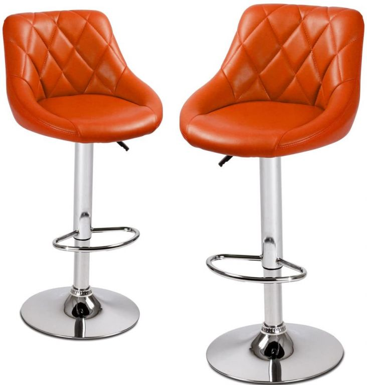 Sada barových stoličiek, oranžová, 2 ks