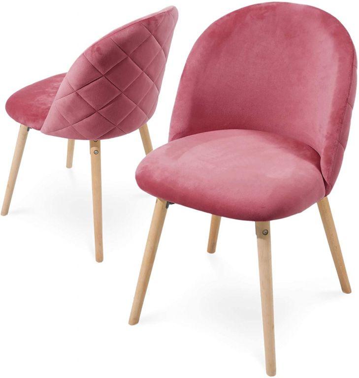 Sada jedálenských zamatových stoličiek, ružové, 2 ks