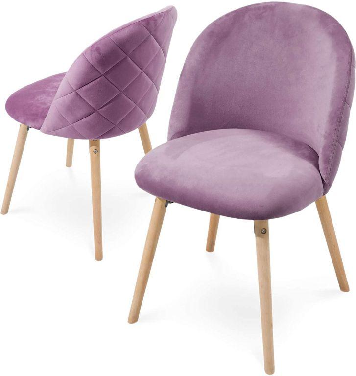 Sada jedálenských zamatových stoličiek, fialové, 2 ks