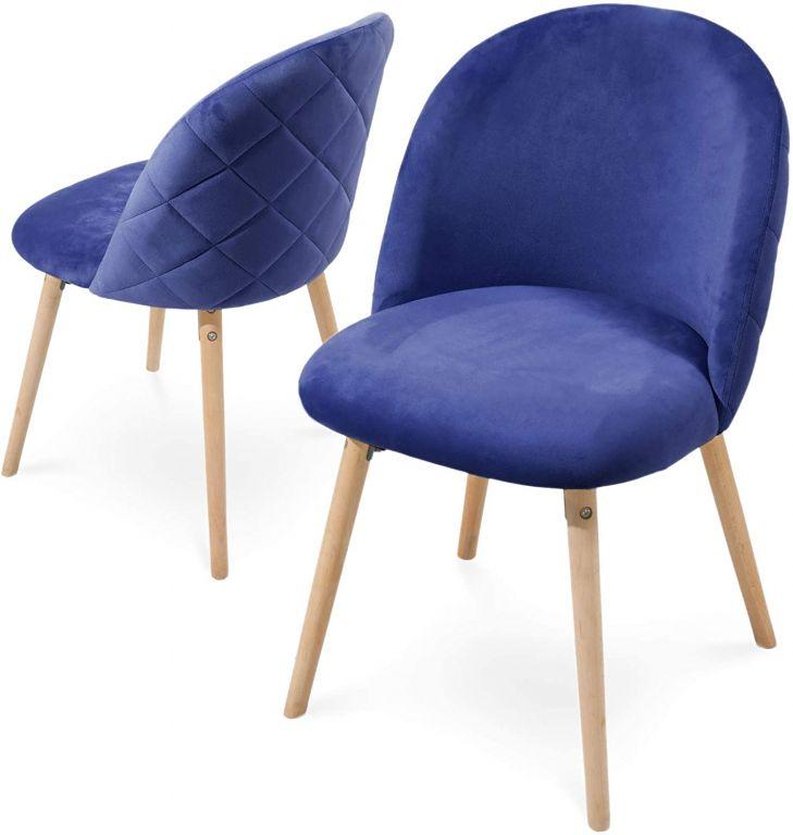 Sada jedálenských zamatových stoličiek, modré, 2 ks
