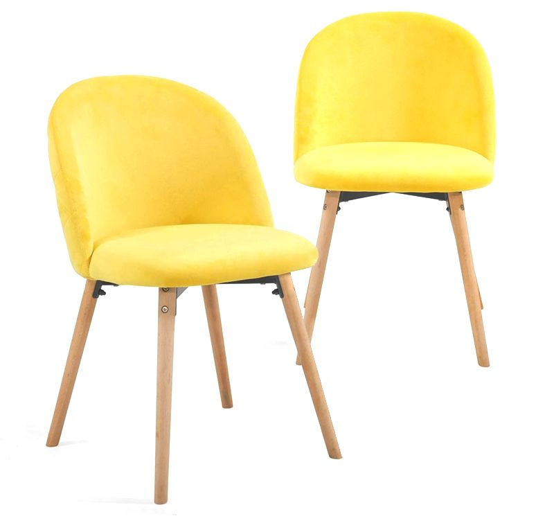 Sada jedálenských zamatových stoličiek, žlté, 2 ks