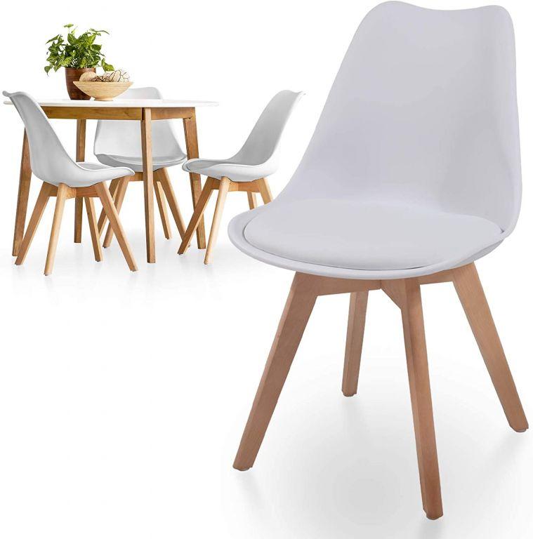 Sada stoličiek s plastovým sedadlom, 4 ks, biele