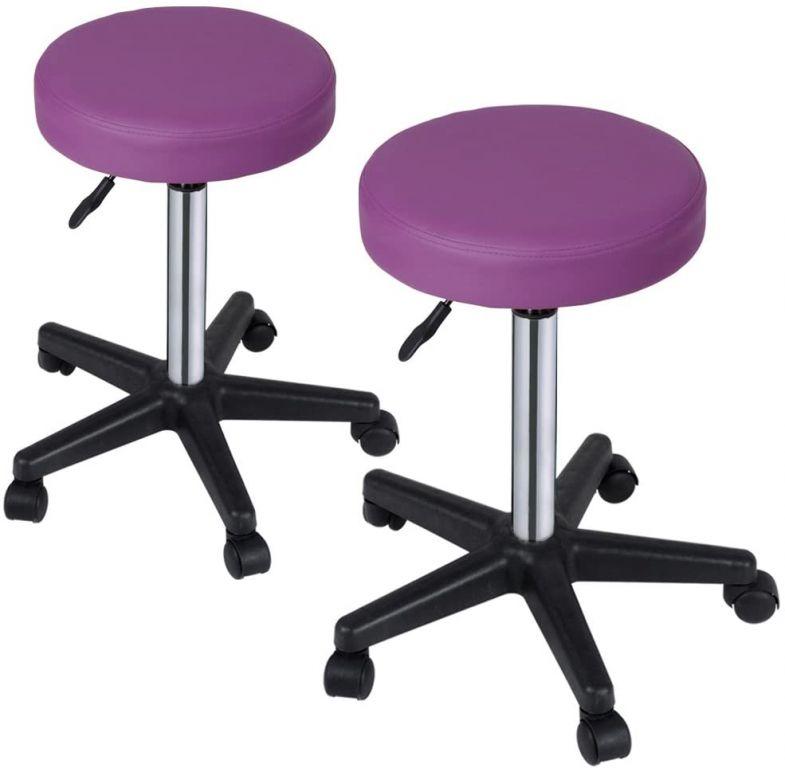 Sada stoličiek na kolieskach, 2 ks, fialové