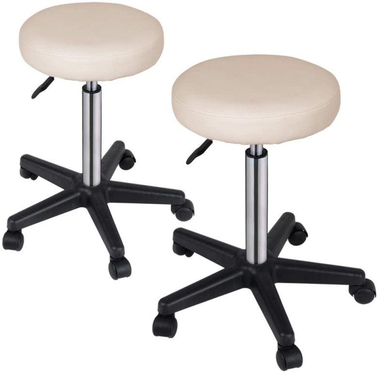 Sada stoličiek na kolieskach, 2 ks, béžové