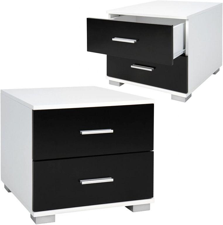 Sada nočných stolíkov, 2 kusy, čiernobiele, 40 x 40 x 35 cm