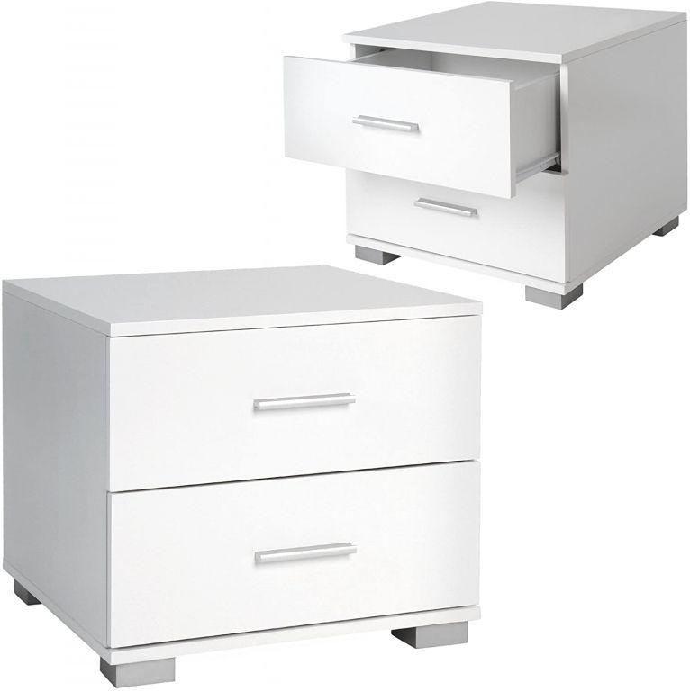 Sada nočných stolíkov, 2 kusy, biele, 40 x 40 x 35 cm
