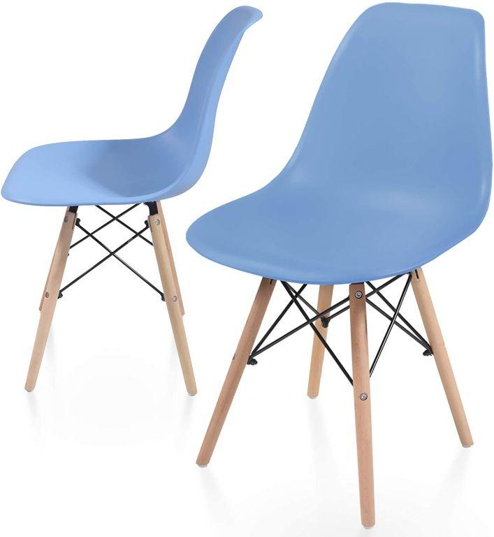 Sada stoličiek s plastovým sedadlom, 2 ks, modré