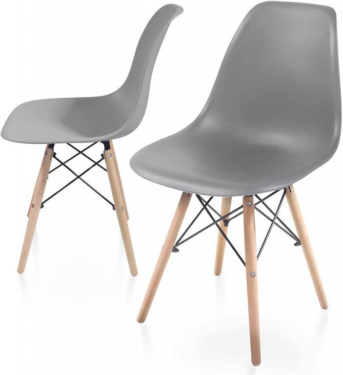 Sada stoličiek s plastovým sedadlom, 2 ks, sivé