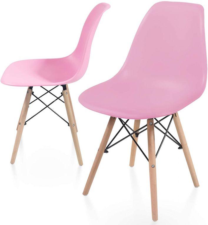 Sada stoličiek s plastovým sedadlom, 2 ks, ružové