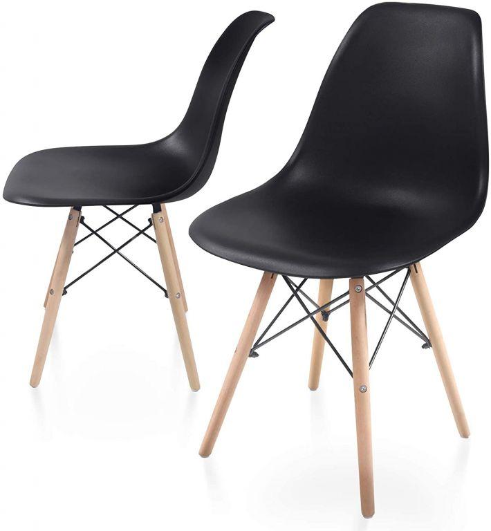 Sada stoličiek s plastovým sedadlom, 2 ks, čierne