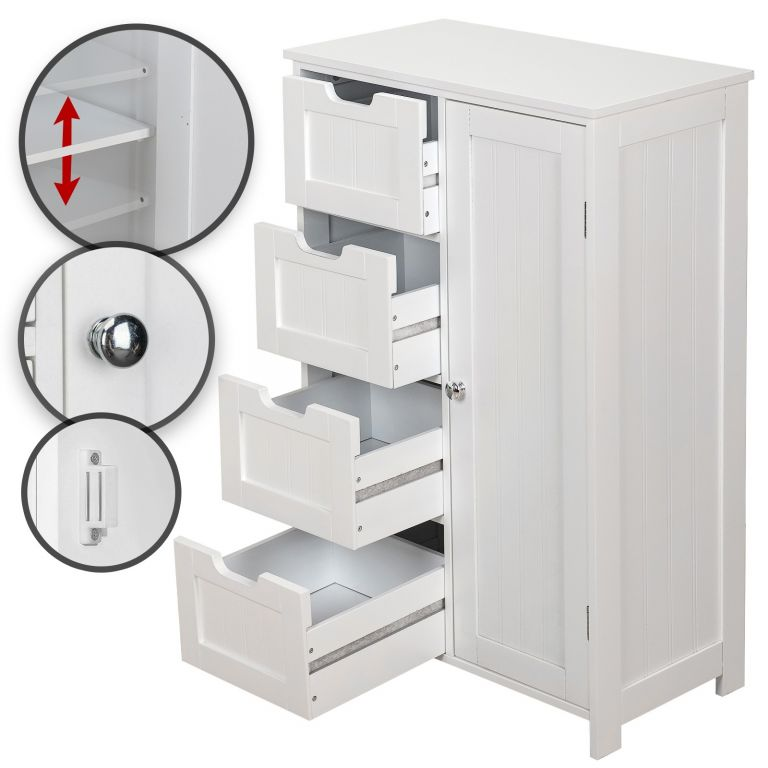 Miadomodo Úložná skrinka so 4 šuplíkmi 55x30x82 cm - biela