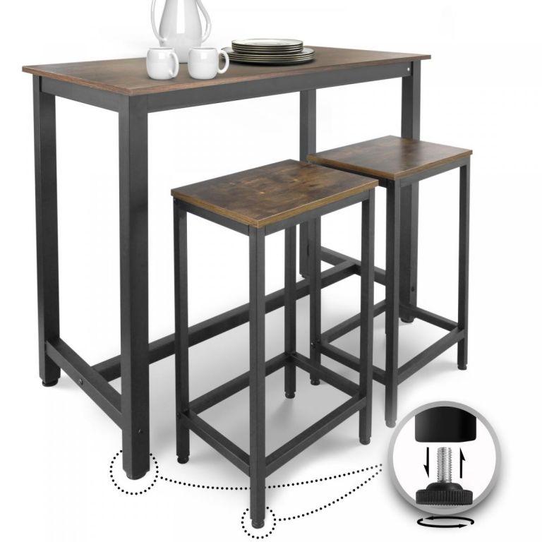 Miadomodo Retro barový stôl + 2 stoličky