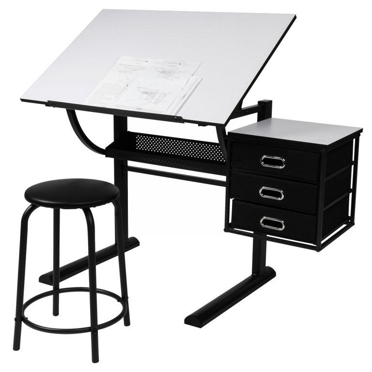 MIADOMODO písací stôl s taburetom, 90 x 75,5 x 60 cm