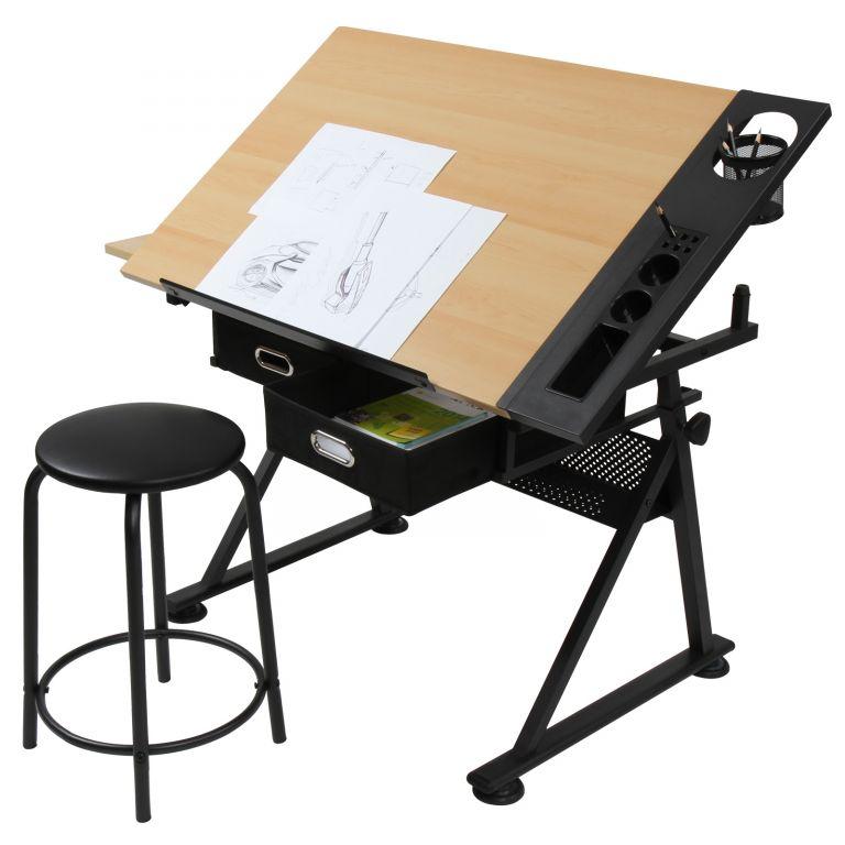 MIADOMODO® Písací stôl s policami, sv. drevo/čierna