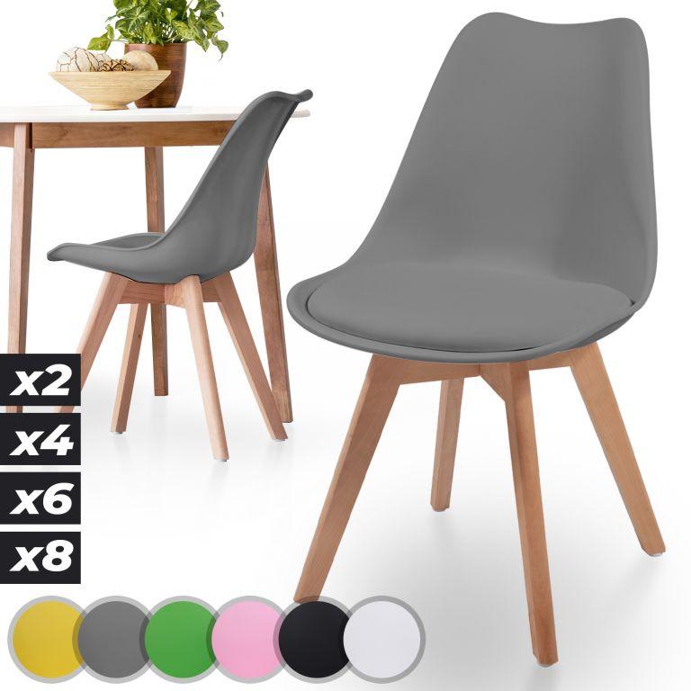 MIADOMODO sada jedálnych stoličiek, sivá, 2 kusy