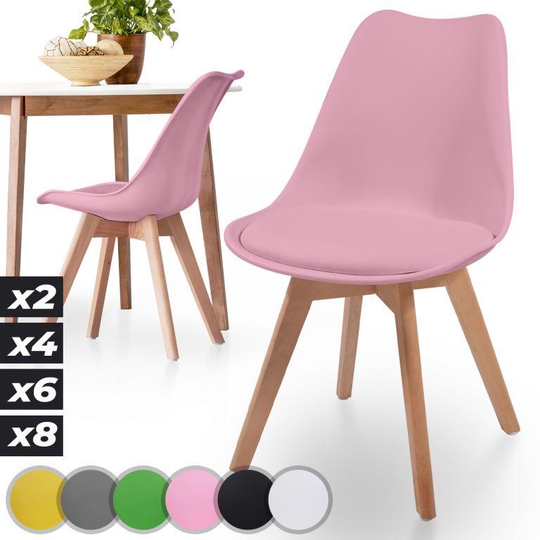 MIADOMODO sada jedálnych stoličiek, ružová, 2 kusy