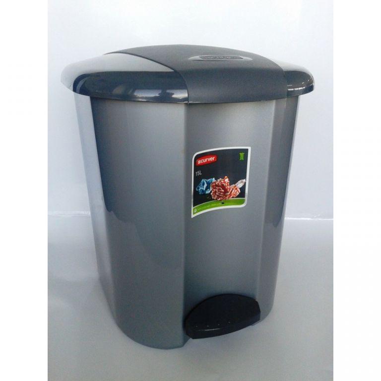 PEDALBIN pedálový odpadkový koš 15l - šedá CURVER