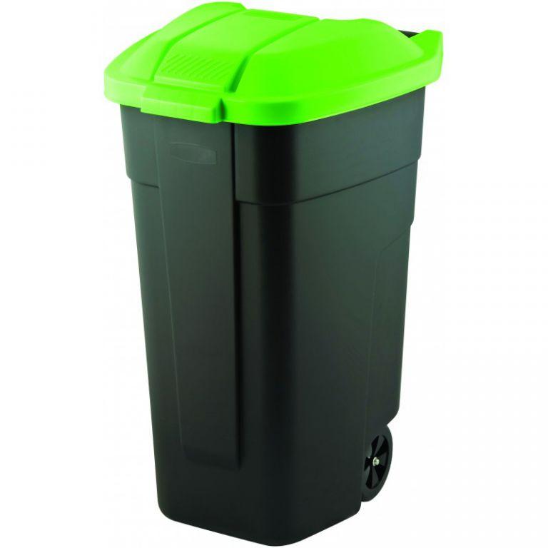 POPELNICE COLOR 110 l - černá/zelená CURVER