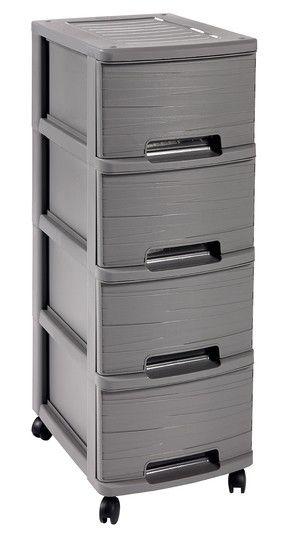 RIBBON skříňka - 4 boxy - šedá CURVER
