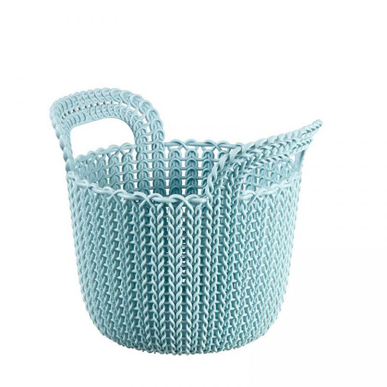 Guľatý košík KNIT 3L - sv. modrá