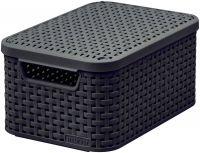 Košík box s vekom - S – tm. hnedý CURVER