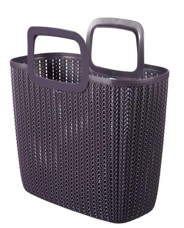Taška nákupná, imitácia háčkovania - fialová CURVER