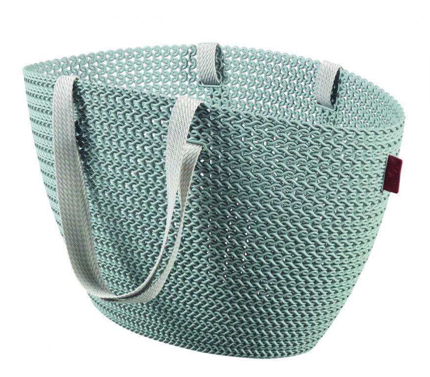 Taška nákupná, pikniková bag imitácia háčkovania - sivomodrá