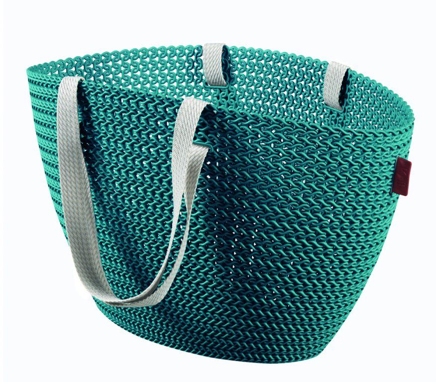 Taška nákupná, pikniková bag imitácia háčkovania - modrá