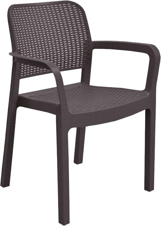 Záhradná plastová stolička SAMANNA - hnedá