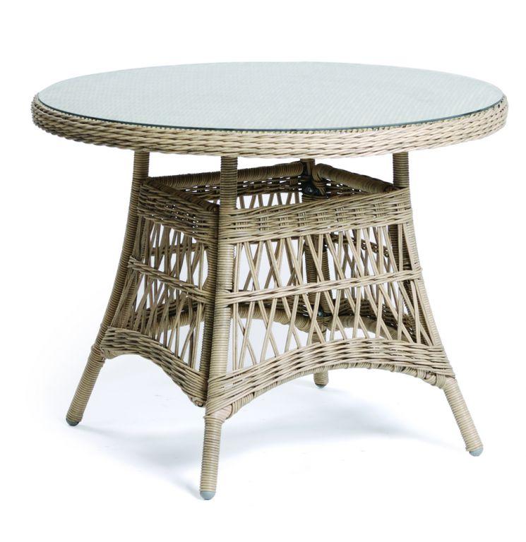 Záhradný polyratanový stôl so sklenenou doskou DENVER - 100 cm