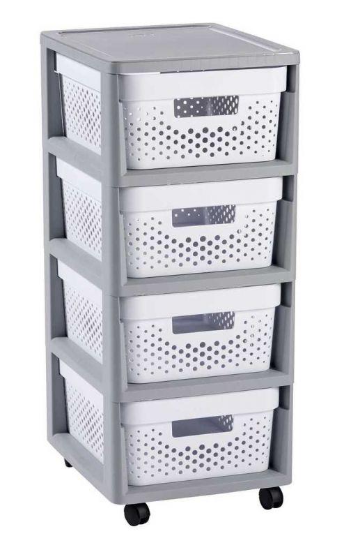 INFINITY DOTS regál so zásuvkami 4 x 11 L - biely