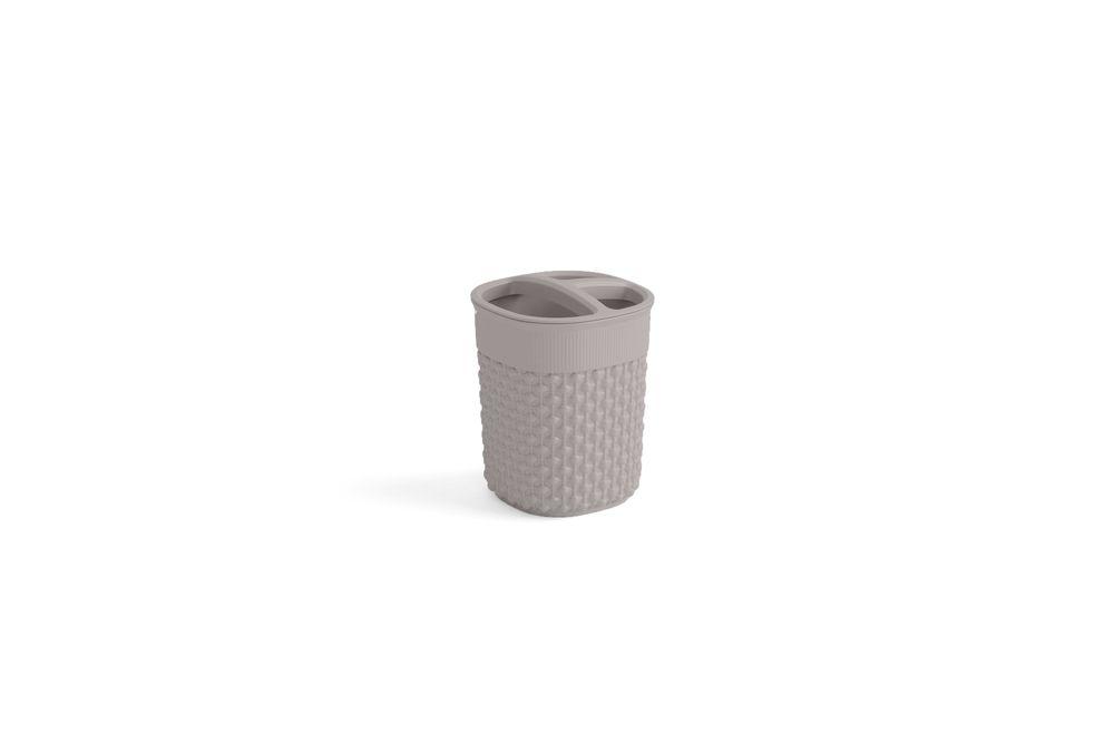 Plastový kelímok na kefky FILO - hnedošedý