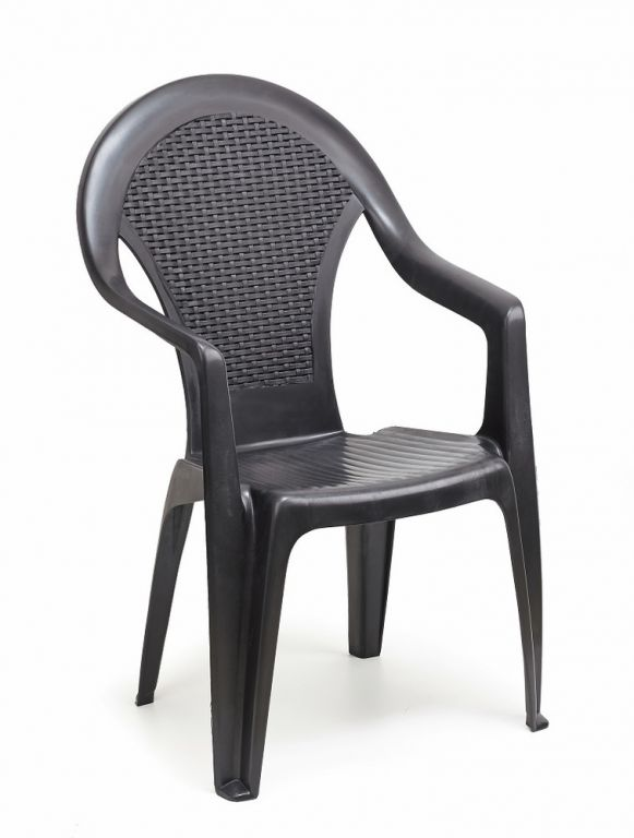 Plastová záhradná stolička vysoká GIGLIO - grafit