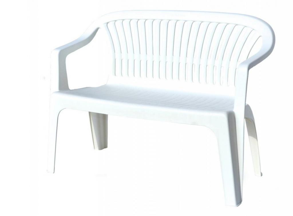 Plastová lavica DIVA - biela, 114 x 82 x 55 cm