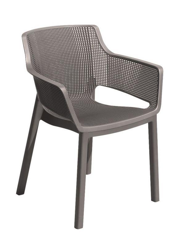 Záhradná plastová stolička ELISA - cappuccino